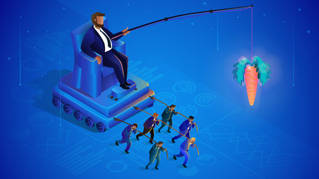 Hidden Crowd Management. Globalization, Leader Controls Puppets. Man on Throne Crowd Control. Business Management Concept. Manipulation and Management. Vector Isometric Illustration.