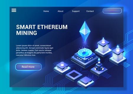 Slimme Ethereum-mijnbouw. Cryptocurrency en Blockchain-concept. Gegevensoverdracht en -verwerking, digitale technologieën. Blockchain-netwerkbedrijf. Bestemmingspaginabanner. Isometrische vectorillustratie.
