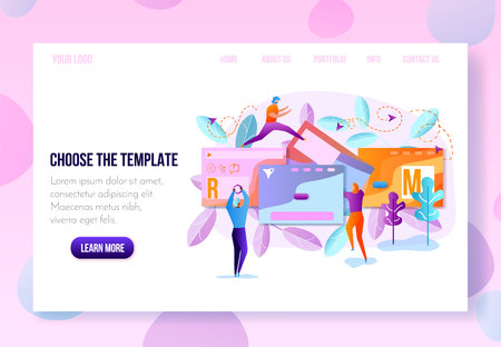 Company Landing Page or Personal Internet Site Constructor, Website Builder Online Service Page Flat Vector Template with Navigation Links in Pastel Colors. User Onboarding Page Sample with Hyperlinks Illustration