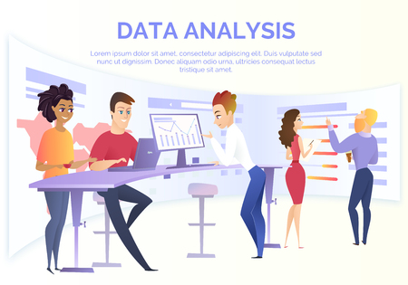 Business Data Analysis Cartoon Vector Concept with Group of Data Analysis Specialists, Financial Analysts Team Working on Computer in Office, Analyzing Business Infographics, Calculating Indicators
