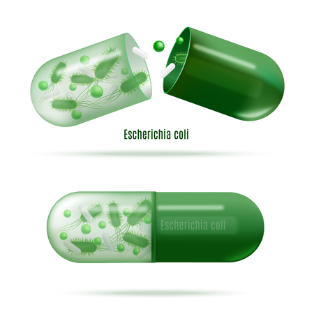 Green Probiotics Pills with Escherichia Coli Live Bacteria in Soluble Shell Realistic Vector Isolated on White. Medicines for Human Microflora, Immunity Support. Dysbiosis, Digestive Disorders Treat