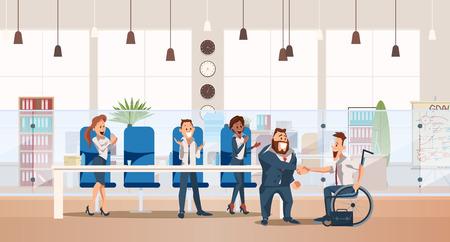 Vorstellungsgespräch und Recruiting-Konzept. Personalwesen im Amt. Teamarbeit während des Vorstellungsgesprächs. Leute arbeiten im Büro. Invalide im Rollstuhl beim Vorstellungsgespräch im Büro. Vektor-Illustration flacher Stil. Vektorgrafik