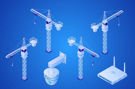 Construction Tower Crane, Security Surveillance Video Camera, Wireless Internet Router Isometric Projection Vector Icons Set on Gradient Blue Background. Construction Site Equipment 3d Illustrations Çizim