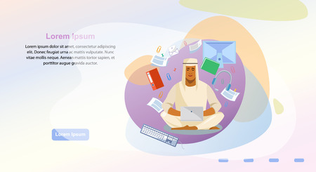 Remote Work in Virtual Office Cartoon Vector Horizontal Web Banner. Muslim Man in Traditional Arabic Wear Using Laptop, Working With Documents And Content. Online Learning Service Landing Page