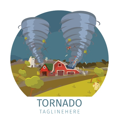 Vector drawing image the destructive tornado. Banner vector illustration of a cartoon looming on a small village devastating tornado. The concept of natural disasters and weather conditions