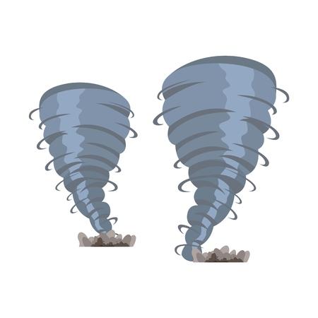 Définir l'image vectorielle de deux tornades destructrices. Illustration vectorielle d'un dessin animé deux tourbillons destructeurs de tornade isolés sur fond blanc. Le concept de menace climatique pour la population