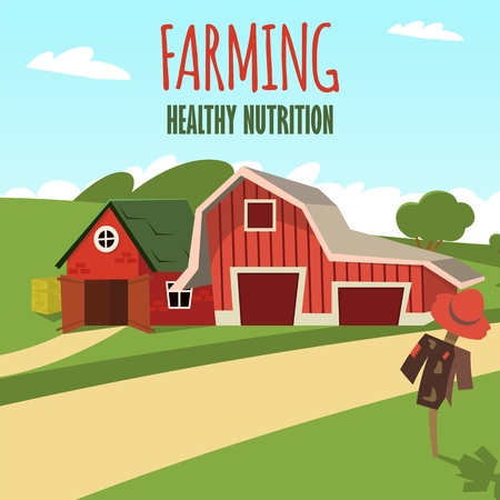 Vector concept image farming rural landscape. Vector illustration of a cartoon a wooden red farm with a hangar on the outskirts of a rural village. The concept of clean living far from the metropolis Ilustrace