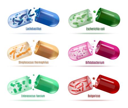 Zestaw kolorowych probiotyków pigułki z różnymi symbiotycznymi ludzkimi bakteriami wewnątrz otwartej rozpuszczalnej powłoki realistyczne wektor na białym tle. Wsparcie odporności człowieka, leczenie dysbakteriozy