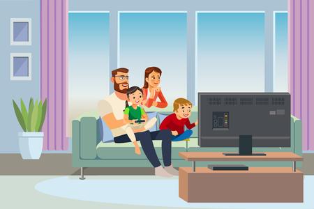 Padres descansando en casa con niños ilustración vectorial de dibujos animados. Padre y madre sentados en el sofá en la sala de estar, viendo la televisión, jugando videojuegos con hijo e hija. Día en familia. Paternidad feliz