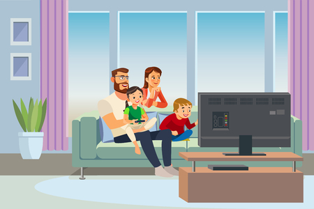 Parents Resting at Home with Kids Cartoon Vector Illustration. Father and Mother Sitting on Sofa in Living Room, Watching TV, Playing Video Game with Son and Daughter. Family Day Out. Happy Parenthood Vettoriali