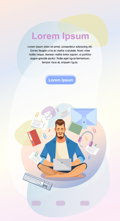 Distance Work Service Cartoon Vector Vertical Banner, Site Template or Mobile App Web Page with Man Sitting in Lotus pose, Working on Laptop with Documents or Content. Online School Landing Page Illustration