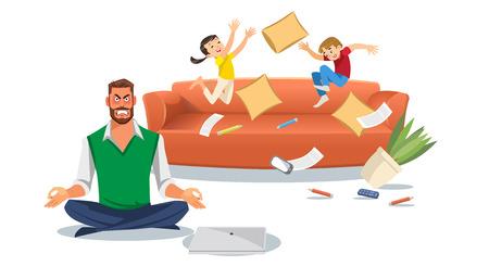Padre in uno stato di stress con i bambini che giocano. Il concetto di stress domestico con i personaggi dei cartoni animati ha isolato il fondo bianco. Illuctration vettoriale di genitori e figli in soggiorno. Vettoriali
