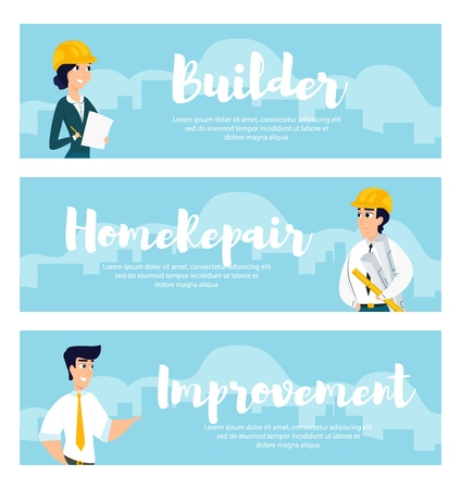 Set of illustrations of architects at work. Banner vector illustration of working cartoon characters on the background of the city. The concept of construction, architecture, design
