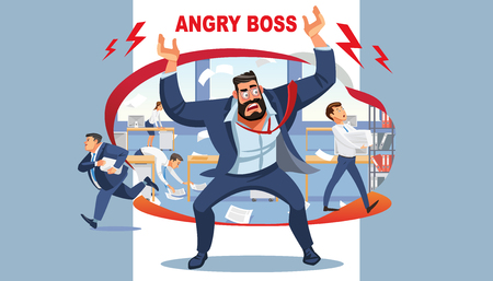 Angry boss screams in chaos at his subordinates. Stressed vector cartoon characters. Office workers hurry up with job. Fun cartoon characters. Vector illustration of work situation. Vettoriali