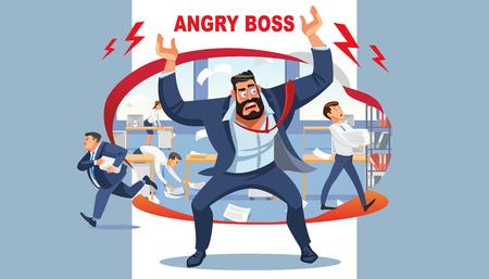 Le patron en colère crie dans le chaos à ses subordonnés. Personnages de dessins animés vectoriels stressés. Les employés de bureau se dépêchent de travailler. Personnages de dessins animés amusants. Illustration vectorielle de situation de travail.