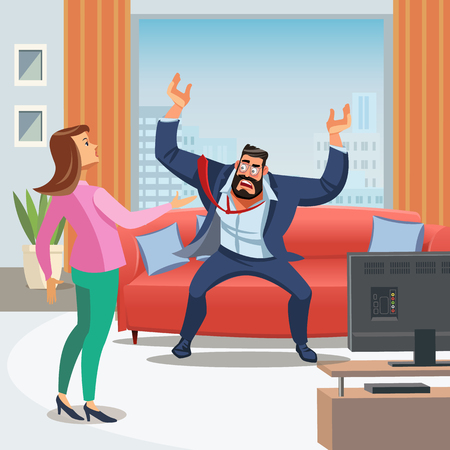 Vector image of Stressful Home environment. Vector Illustration of Cartoon Man Sitting on Sofa shouts wife with his hands up. A Woman trying to calmly talk her Husband. Family Conflict Concept