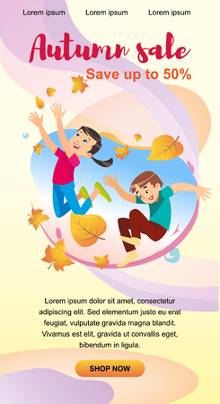 Children playing in the park throwing up leaves. Cartoon banner vector illustration isolated on background. The concept of outdoor recreation for children the park. Zdjęcie Seryjne - 127715307