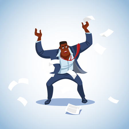 Vector illustration of boss under stress. Stressed vector cartoon characters. Angry boss stands raising his hands up aggressively shouting. Fun cartoon characters. Vector illustration work situation Zdjęcie Seryjne - 127715308