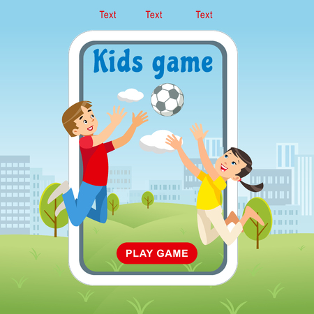 Vector Concept image Happy Kids Game Soccer Ball. Banner Vector Illustration of Cartoon Playing Boy and Girl with Soccer Ball in park. Happy Childhood. Family vacation Park Zdjęcie Seryjne - 127715309