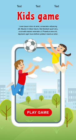 Vector Concept image Happy Kids Game Soccer Ball. Banner Vector Illustration of Cartoon Playing Boy and Girl with Soccer Ball in park. Happy Childhood. Family vacation Park Zdjęcie Seryjne - 127715311