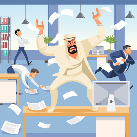 Angry boss screams in chaos at his subordinates. Stressed vector cartoon characters. Office workers hurry up with job. Fun cartoon characters. Vector illustration of work situation. Illustration
