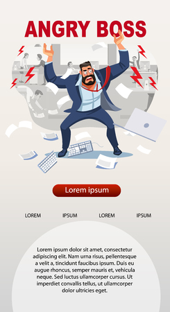 Angry boss screams in chaos at his subordinates. Stressed banner vector cartoon characters. Office workers hurry up with job. Fun cartoon characters. Vector illustration of work situation. Иллюстрация