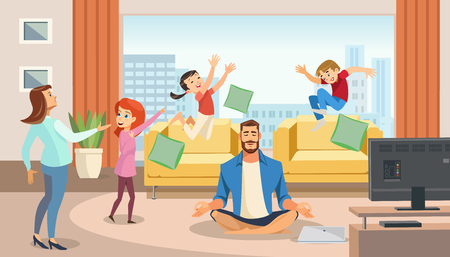Happy father in lotus position surrounded family. Home relax concept with fun cartoon characters. Vector illuctration of parent and children at living room modern interior.