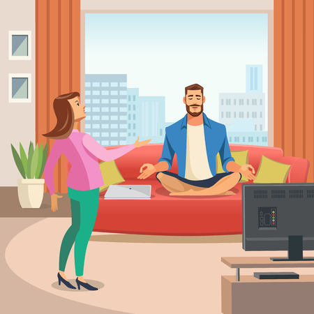 Vector image of a Relaxing Home environment. Vector Illustration of Cartoon Man sitting in Lotus Position on Couch. Wife turns to her Husband. Family Concept. Yoga at Home