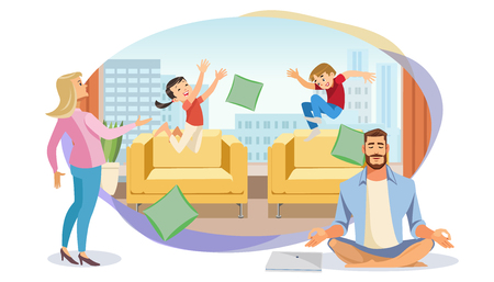 Happy Father in Lotus position surrounded Family. Home Relax Concept with fun Cartoon characters. Vector Illuctration Parent and Children at Living Room modern Interior on White Background Zdjęcie Seryjne - 127715315