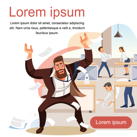 Angry boss screams in chaos at his subordinates. Stressed banner vector cartoon characters. Office workers hurry up with job. Fun cartoon characters. Vector illustration of work situation. Zdjęcie Seryjne - 127715317