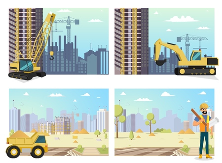Concept Modern City Construction Buildings. Vector Illustration of Cartoon Set images the Construction process. Construction Crane. Yellow eEcavator. Truck. Male Builder with Tool his hands