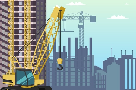 Concept Modern City Construction Buildings. Vector Illustration Cartoon Construction Crane background under Construction area City. Process Building a residential Skyscraper Zdjęcie Seryjne - 127703092