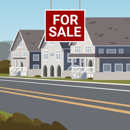 The Concept of For Sale Country Townhouse. Vector Illustration of Cartoon Sale of Country Townhouse. The Concept of Life Outside the metropolis. Country Family House for the Summer Zdjęcie Seryjne - 127703093