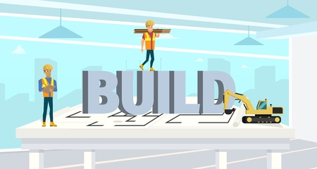 Concept Modern City Construction Buildings. Vector Illustration Cartoon Builders on background large letters Build. Two Construction Workers. Excavator Construction Equipment. Engineer, Excavator Zdjęcie Seryjne - 127703094
