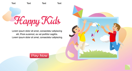 Vector Concept image Playing Happy Kids. Banner Vector Illustration of Cartoon Happy Playing Brother and Sister. Children play with a Kite. Family vacation Concept in Park