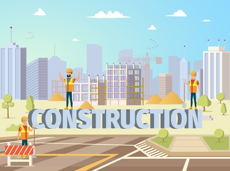 Concept Modern City Construction Buildings. Vector Illustration Cartoon Builders on background large letters Construction. Construction new area City. Group Man Builders Engineer 矢量图像