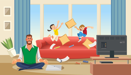 Father in a state of stress with playing children. Home stress concept with cartoon characters. Vector illuctration of parent and children at living room modern interior.