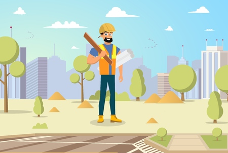 Concept Modern City Construction Buildings. Vector Illustration Cartoon Male Builder holding blueprints and Tool in hand against background City. Megapolis Construction Concept Ilustracja
