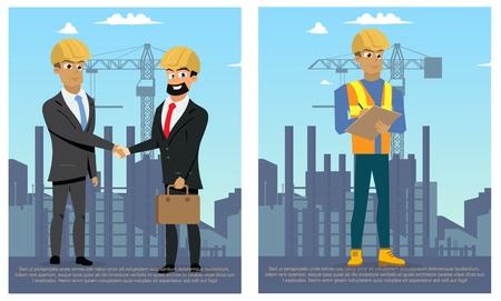 Concept Modern City Construction Buildings. Vector Illustration Cartoon Set images Builder, two Business Men Construction Building. Concept successful Business transaction