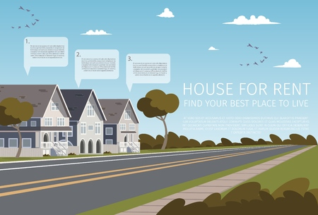 House For Rent Find your Best Place to Live. Banner Vector Illustration of Cartoon Renting a Family House for the Summer. Seasonal Life of Outside the metropolis. Fresh air