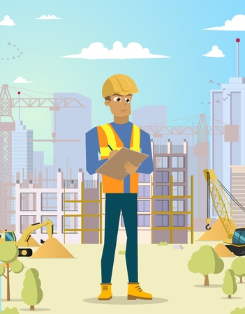 Concept Modern City Construction Buildings. Vector Illustration Cartoon Construction Engineer recording in a text tablet. Man in Uniform against the background of Building. Ilustracja
