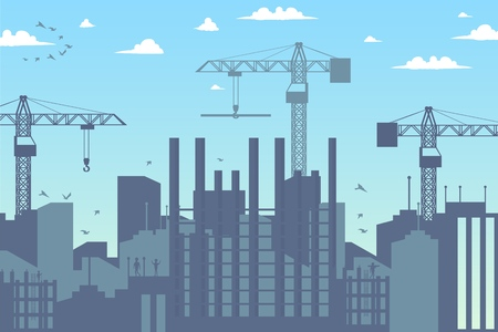Concept Modern City Construction Buildings. Vector Illustration Cartoon Panorama Construction a new District the City. Cranes. Building Construction Concept. New residential area Project  イラスト・ベクター素材