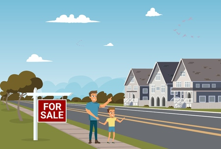 The Concept of For Sale country Townhouse. Vector Illustration of Cartoon Father and Son choosing House to buy. Happy Family Buy their new Home. The Concept living outside the City Townhouse Vettoriali