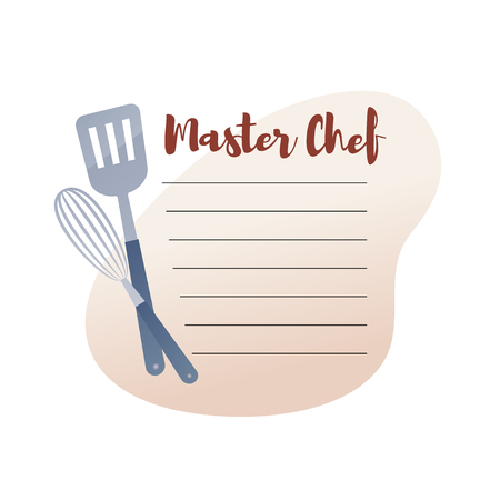 Culinary Concept Illustration Restaurant business. Banner Vector Illustration Cartoon Note on Master Chef with Ingredients at hand. Chef's easy cooking Recipe with product items Zdjęcie Seryjne - 127678867