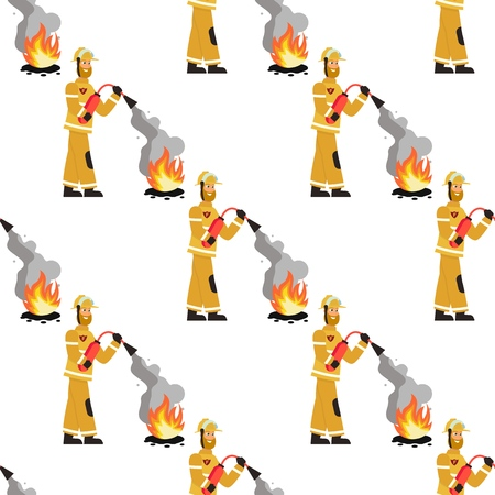 Vector image Pattern Firefighter Fire Extinguisher. Set Vector Illustration Seamless image Firefighter puts out Fire Extinguisher Isolated on White Background. Concept gift Wrapping, cards, Paper bags Zdjęcie Seryjne - 127678868