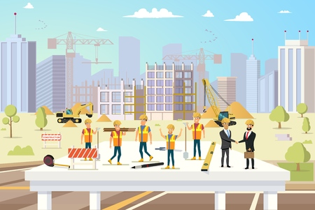 Concept Modern City Construction Buildings. Vector Illustration Cartoon Group of Man Builders and Engineers. Workflow for Construction new City Building. Successful deal Contractors Zdjęcie Seryjne - 127678869
