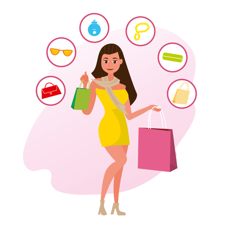 The Concept girlfriends Shopping in the Style Shop. Vector Illustration of Cartoon Happy Girl in Dress with Purchases. Isolated on White Background. Icons with Accessories