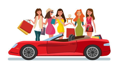The Concept Girlfriends Shopping in the Style Shop. Vector Illustration of Cartoon Group of Girlfriends going Shopping. Happy Girls and Red Cabriolet Car Isolated on White Background