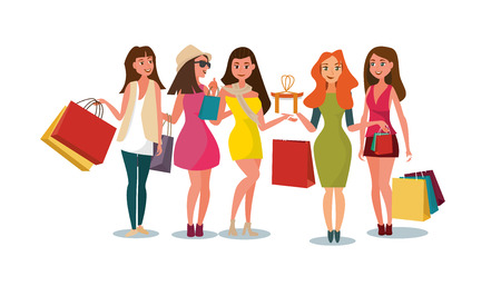 The Concept Girlfriends Shopping in the Style Shop. Vector Illustration of Cartoon Group of Girlfriends going Shopping. Happy Girls with Packages in their hands Isolated on White Background Zdjęcie Seryjne - 127678872