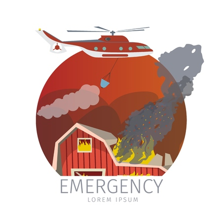 Vector Illustration Helicopter Extinguishes Fire. Banner Cartoon Image Emergency on Farm. Helicopter Extinguishes Fire on Farm. Emergency Isolated on White Background. Concept Destruction by Fire. Zdjęcie Seryjne - 127678873